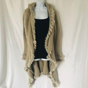 Love Token Rabbit Fur Long Sleeve Duster XS